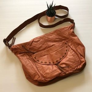 Bueno Leather Hobo Purse in Rose Gold Color